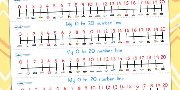 Transport Number Line 0-20 - transport, number line, numbers