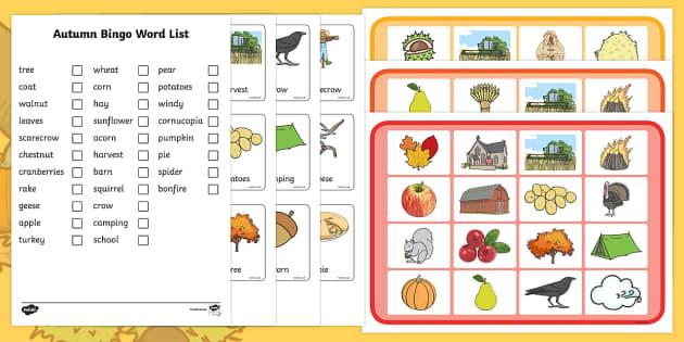 Autumn Bingo, bingo, game, bingo game, seasons