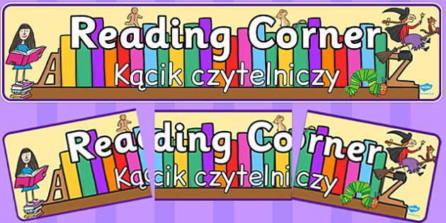 Reading Corner Display Banner Polish Translation - classroom organisation, library, book corner, books, early years, ks1, key stage 1, ks2