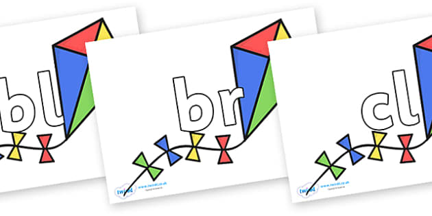 Initial Letter Blends on Kites - Initial Letters, initial letter, letter blend, letter blends, consonant, consonants, digraph, trigraph, literacy, alphabet, letters, foundation stage literacy
