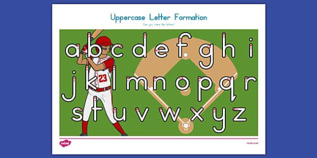 Baseball Themed Letter Writing Practice Worksheet - usa, baseball, mlb, major league baseball, letter writing
