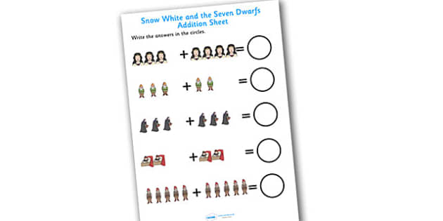 Snow White and the Seven Dwarfs Addition Sheet - snow white, addition sheet, addition, snow white addition sheet, snow white worksheet