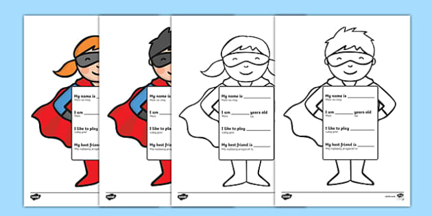 All about me superhero writing template Polish-English