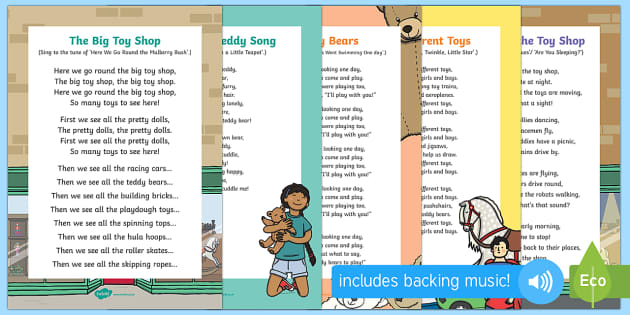 Toys Songs and Rhymes Resource Pack - EYFS, Early Years, Toys, teddy bear, toy shop, toy songs