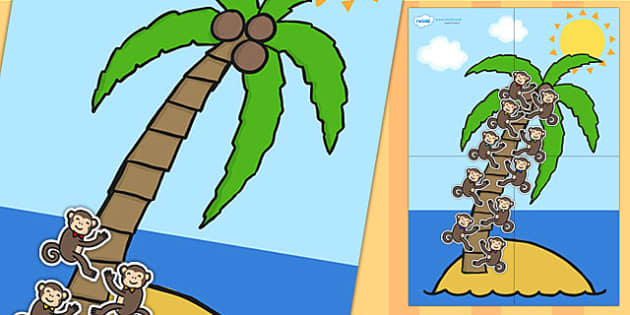 Large Palm Tree and Monkey 10 Step Reward Chart - reward chart, reward, chart, themed reward chart, palm tree, monkey, 10 step reward chart, 10 step