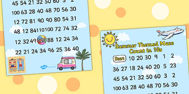 Summer Counting in 10s Maze - seasons counting aid, count, maths