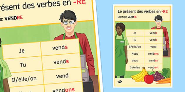 Le présent des verbes en -RE Poster - french, perfect tense, re, classroom, display poster, verbs