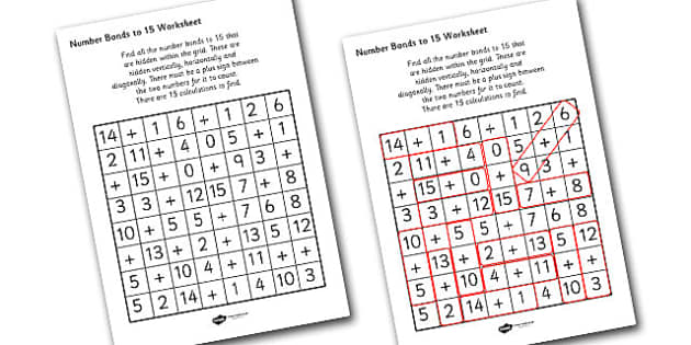 Number Bonds to 15 Wordsearch - numbers, bonds, wordsearch, game