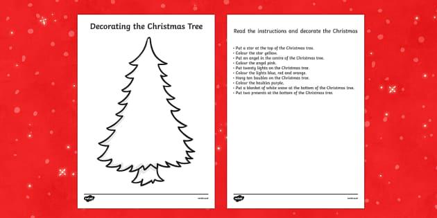 Christmas Tree Decorating Reading Comprehension Activity - comprehension, Christmas tree, decorating, read, draw