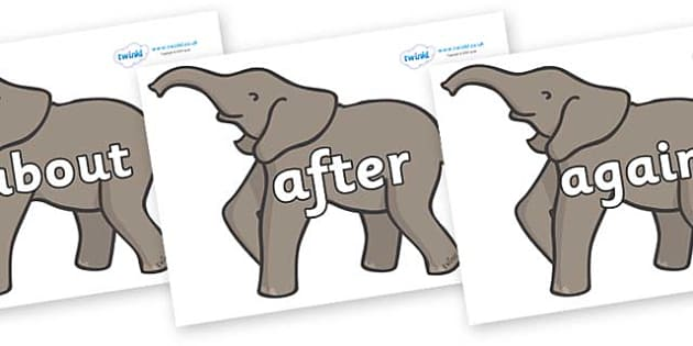 KS1 Keywords on Elephants - KS1, CLL, Communication language and literacy, Display, Key words, high frequency words, foundation stage literacy, DfES Letters and Sounds, Letters and Sounds, spelling