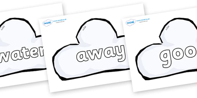 Next 200 Common Words on Weather Symbols (Cloud) - Next 200 Common Words on  - DfES Letters and Sounds, Letters and Sounds, Letters and sounds words, Common words, 200 common words