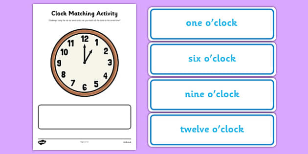 Clock Matching Activity - clock, matching, activity, match, time