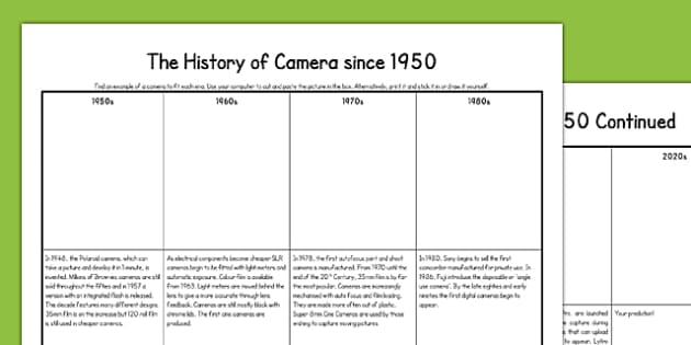 Cameras Since 1950 - 35mm film, SLR, Brownie, polaroid, Kodak, Digital