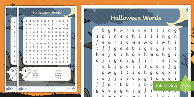 Differentiated Halloween Word Search