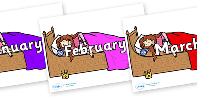 Months of the Year on Sleeping Beauty Bed - Months of the Year, Months poster, Months display, display, poster, frieze, Months, month, January, February, March, April, May, June, July, August, September