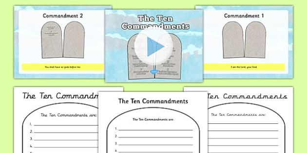 The Ten Commandments Information PowerPoint and Worksheet - the ten commandments, information, powerpoint, worksheet, the ten commandments powerpoint
