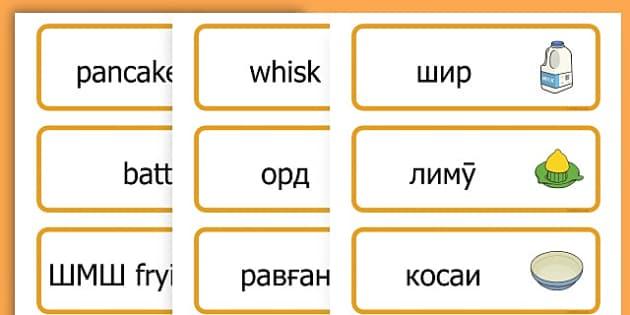 Pancake Day Recipe Word Cards - australia, pancake, day, cards - Tajik