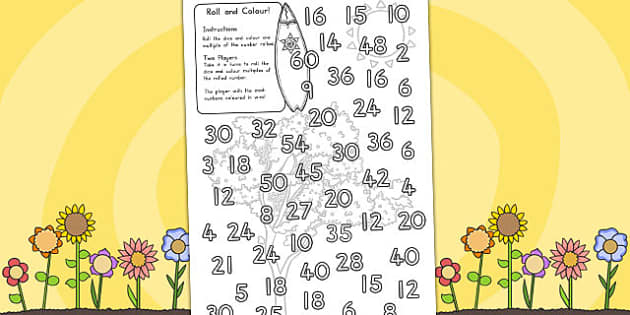 Spring Colour and Roll Worksheet - seasons, spring, colour, roll