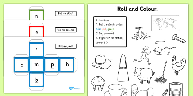CVC Words Roll and Colour Activity - cvc, words, roll, colour
