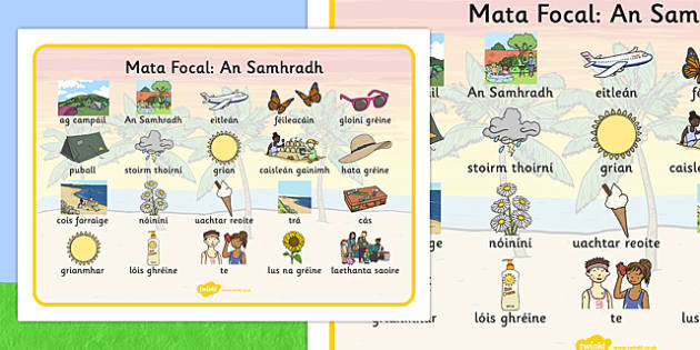 Summer Word Mat Images Gaeilge - Summer, holidays, word mat, writing aid, holiday, holidays, seasons, beach, sun, flowers, ice cream, sea, seaside