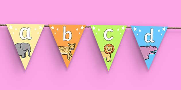 Cute Animals Alphabet Bunting - cute animals, alphabet bunting, A-Z bunting, animal bunting, cute animal bunting, animal alphabet bunting, alphabet buntin