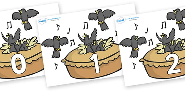 Numbers 0-31 on Blackbirds in a Pie - 0-31, foundation stage numeracy, Number recognition, Number flashcards, counting, number frieze, Display numbers, number posters
