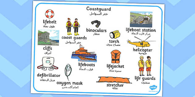 Coastguard Word Mat Arabic Translation - arabic, coastguard, word mat