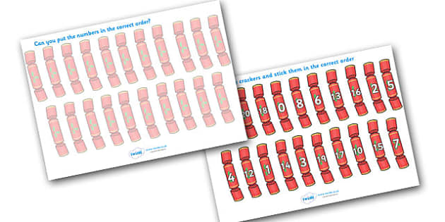 Christmas Themed Number Ordering (Christmas Crackers) - christmas