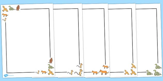 The Gruffalo Page Borders - The Gruffalo, resources, mouse, fox, owl, snake, Gruffalo, fantasy, rhyme, story, story book, story book resources, story sequencing, story resources, Literacy, writing, page border, a4 border, template, writing aid, writi