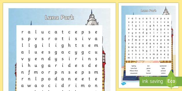 Luna Park Word Search- - Sydney Australia, luna park, word search, find a word, fun, activity, spelling, vocabulary, writing,