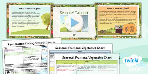 PlanIt - D&T UKS2 - Super Seasonal Cooking Lesson 1: Seasonal Calendar Lesson Pack