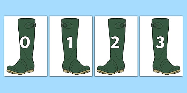 Numbers 0-20 on Wellies Welly Boots - numbers, 0-20, wellies, welly boots