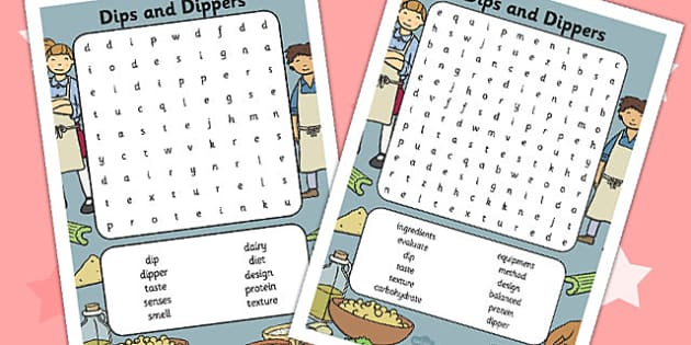 Dip and Dippers Wordsearch - wordsearch, dips, dippers, words