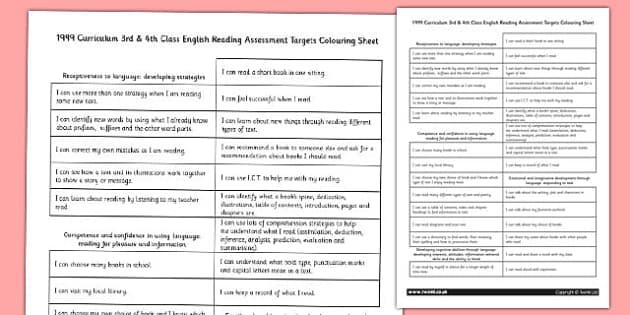1999 Curriculum 3rd & 4th Class English Reading Assessment Targets Colouring Sheet - Ireland, Irish