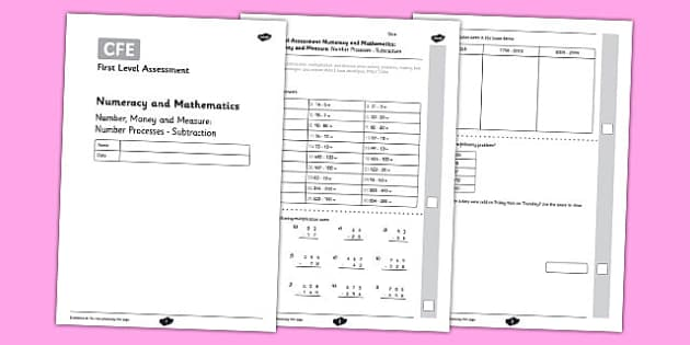 First Level Assessment: Number, Money and Measure - Number Processes - Subtraction - CfE, numeracy, subtraction, number, assessment