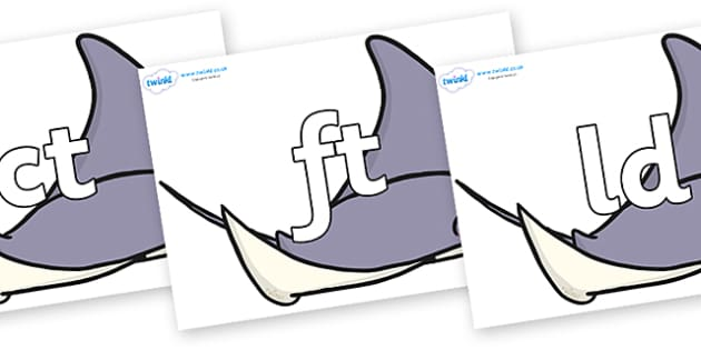 Final Letter Blends on Manta Rays - Final Letters, final letter, letter blend, letter blends, consonant, consonants, digraph, trigraph, literacy, alphabet, letters, foundation stage literacy