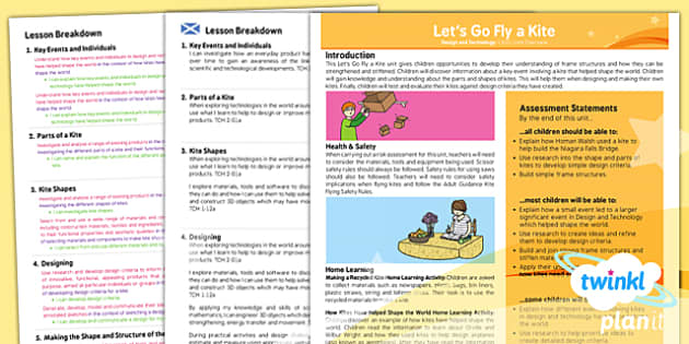PlanIt - DT LKS2 - Let's Go Fly a Kite Planning Overview CfE - planit, design, technology, overview, cfe
