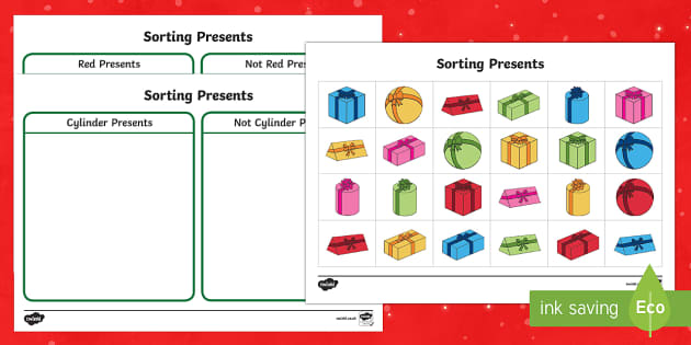 Christmas Present Sorting Activity Sheets