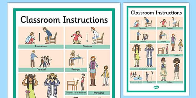 Classroom Instructions Word Grid Spanish