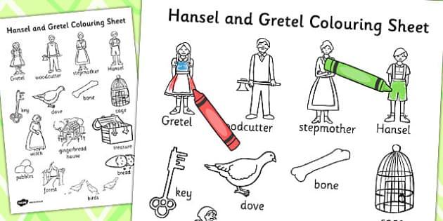 Hansel and Gretel Words Colouring Sheet - colour, hansel, gretel