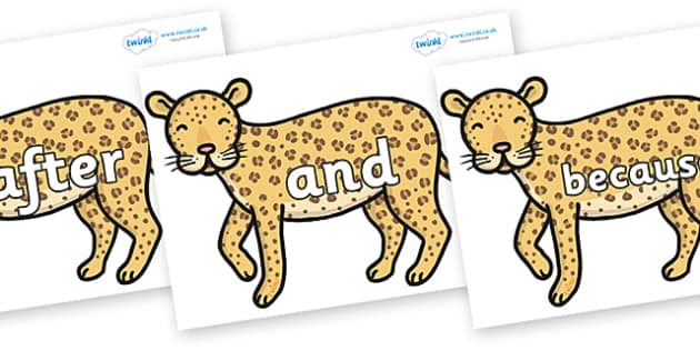 Connectives on Leopards - Connectives, VCOP, connective resources, connectives display words, connective displays
