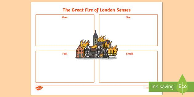 The Great Fire of London Senses Activity Sheet, worksheet