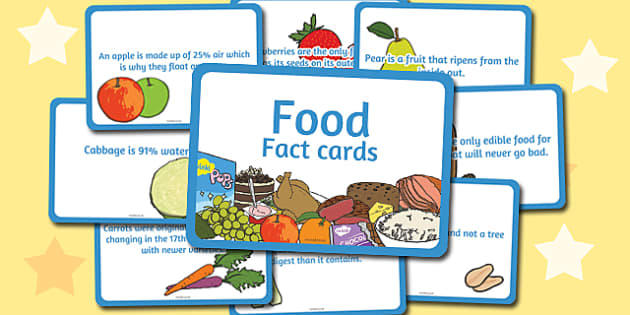 Amazing Food Display Fact Cards - food, display, fact, cards, facts