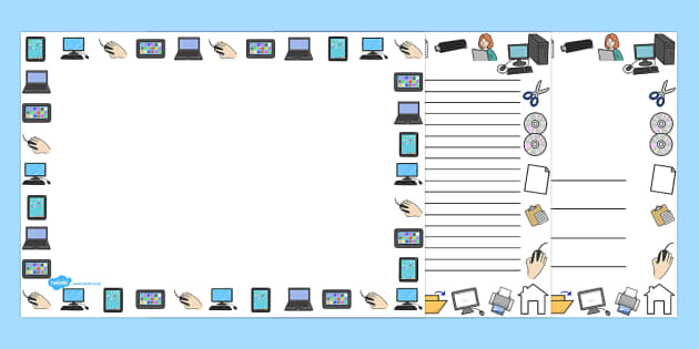 ICT Full Page Borders (Landscape) - page border, border, frame, writing frame, writing template, ICT, ICT page borders, landscape ICT page borders, internet, online, computer, computer page borders, writing aid, writing, A4 page, page edge, writing a