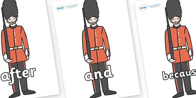 Connectives on Royal Guards - Connectives, VCOP, connective resources, connectives display words, connective displays