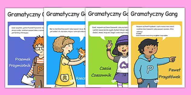 Plakaty Gramatyczny Gang po polsku - polski, części mowy - polish, grammar game, character, display