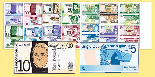 Scottish Money Cut Outs - scottish money, scottish, money, scotland, cut outs, activity, maths, numeracy