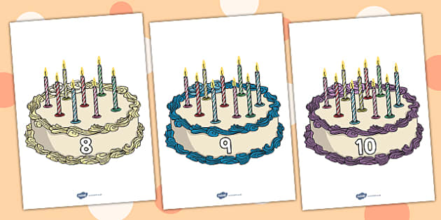 Numbers 0-10 on Birthday Cakes - Foundation Numeracy, Number recognition, Number flashcards, Birthday, cake, 0-10, counting