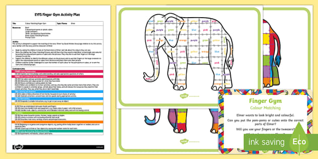 EYFS Colour Matching Finger Gym Plan and Resource Pack - EYFS, Early Years planning, Elmer, David McKee, colours, elephant, Funky Fingers, fine motor skills.
