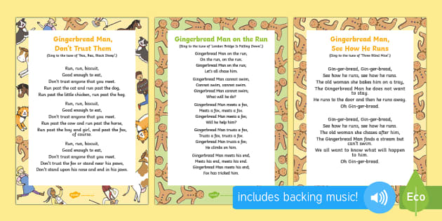The Gingerbread Man Songs and Rhymes Resource Pack - The Gingerbread Man, Traditional Tales, ginger bread, singing, song time